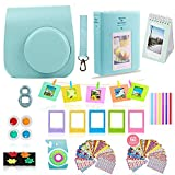 Fujifilm Instax Mini 9 Camera Accessories Bundle, ICE Blue Instax Mini Case, 14 PC Kit Includes: 2 Photo Albums, Color Filter, Selfie Lens, Magnets + Hanging + Creative Frames, 60 Stickers, Gift Set