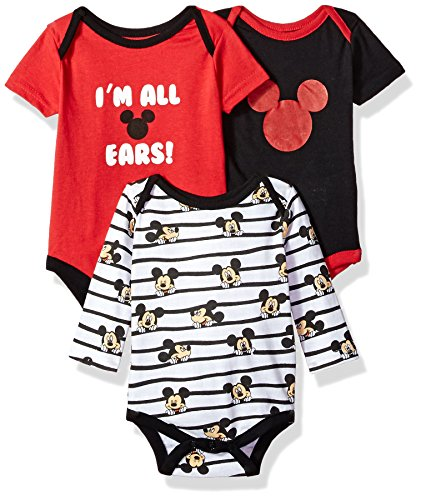 Disney Baby Boys 3 Pack Mickey Mouse Creepers, Red, 6-9 Months (Clothes Disney Baby)