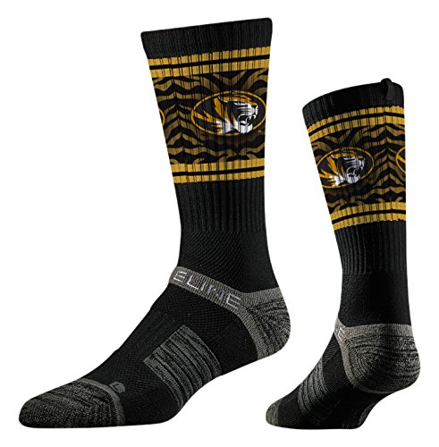 Strideline NCAA Missouri Tigers Premium Athletic Crew Socks, Mizzou Black, One Size ()