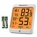 ThermoPro TP53 Hygrometer Thermometer Humidity Gauge Indicator Digital Indoor Thermometer Room Temperature Humidity Meter Monitor Touch Backlight Humidifiers Dehumidifiers