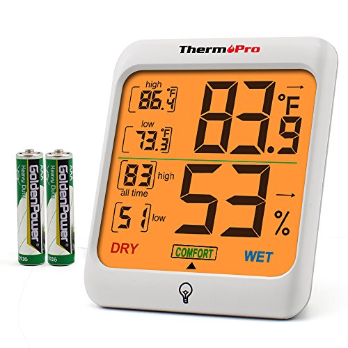 - ThermoPro TP53 Hygrometer Humidity Gauge Indicator Digital Indoor Thermometer Room Temperature and Humidity Monitor with Touch Backlight