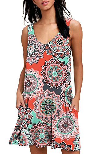 (BISHUIGE Women Summer Beach Dresses Cotton Mini Sundress Small, FL Orange)