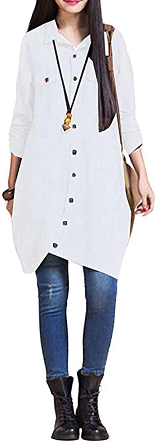 KIDSFORM Cotton Linen Dresses for Women Summer Loose Midi Dresses with Pocket X-white