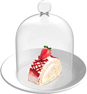 "GWAY Decorative Jars, Bell Jar Glass Display Dome Cloche, Bell Dome Glass Cake Dessert Display, Dome Glass Display Covers, Exterior 5.31"" H X 3.93"" Diameter (Interior Size 4.33"" H X 3.93"" Diameter)"