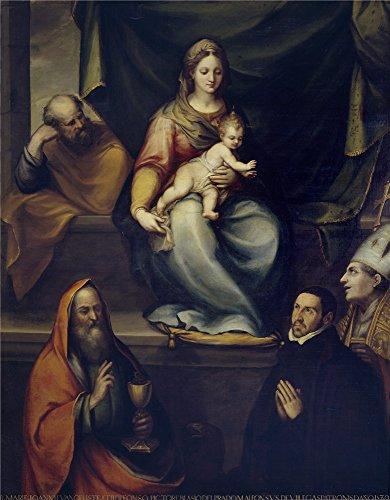 Oil Painting 'Prado Blas De La Sagrada Familia San Ildefonso San Juan Evangelista Y El Maestro Alonso De Villegas 1589' 16 x 21 inch / 41 x 52 cm , - Sunglasses Prado