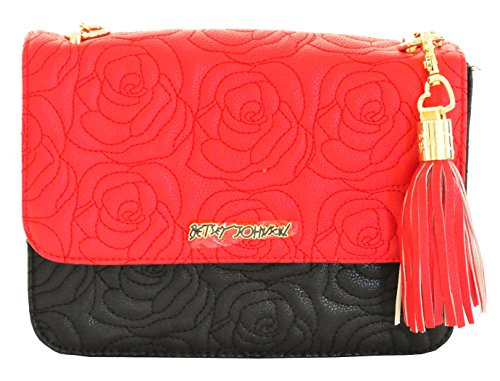 Betsey Johnson Quilted Rose Shoulder Crossbody Bag, Red - Betsey Flap Chain