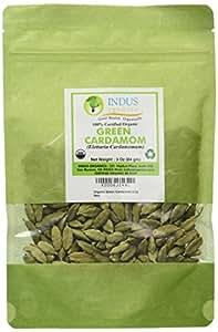 Indus Organic Green Cardamom Pods, 3 Oz, Super Jumbo Grade, Hand Selected, Freshly Packed