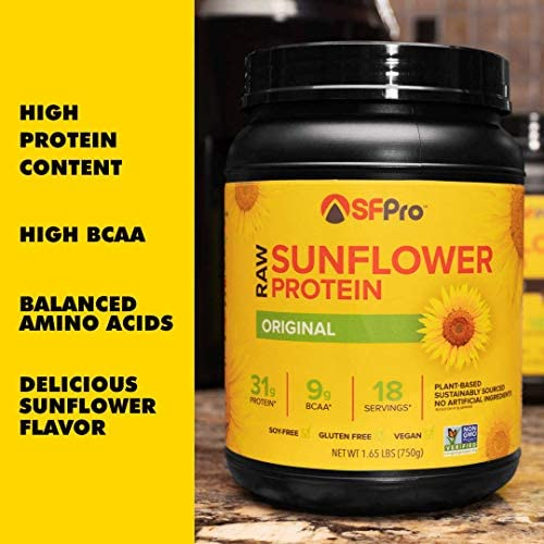 Plant Based Vegan Protein Powder by SFPro Original Premium Sunflower Protein, Single Source High BCAAs, Balanced Amino Acids, All Natural 1.65lbs