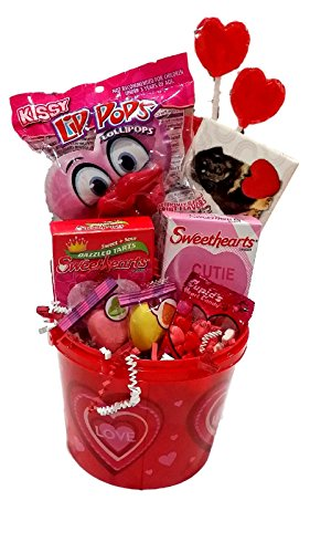Pucker Up Valentine's Day Gift Basket; Reusable Bucket of Assorted Valentine Candy
