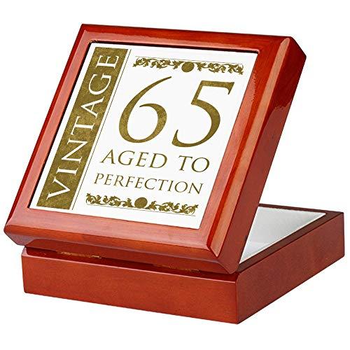 (CafePress Fancy Vintage 65Th Birthday Keepsake Box, Finished Hardwood Jewelry Box, Velvet Lined Memento Box)