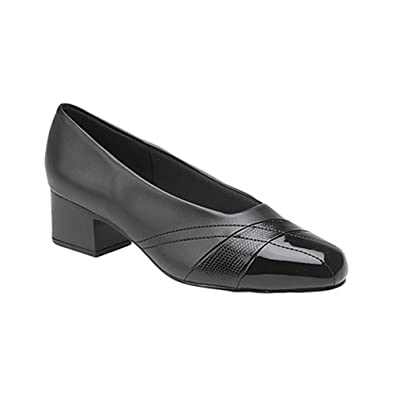 a6c7fba40eaa Ladies Womens Black Red Burgundy Patent Comfort Plus Wide Fit Court Shoes (4