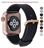 Apple Watch Band 38mm - PEAK ZHANG Women Black Genuine Leather Replacement Wrist Strap with Gold Metal Clasp for Iwatch Series 3 Gold