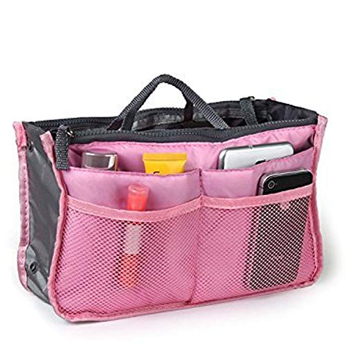 Techstyle StyleTech Inc. Travel Insert Accessories Compartment Bag Durable Multi-Pocket Insert-Organizer Tote Bag (A.) Pink