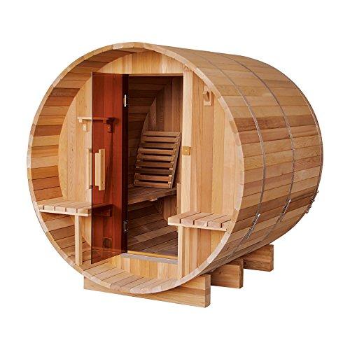 ALEKO SB8CEDARCP Rustic Red Cedar Indoor Outdoor Wet Dry Barrel Sauna with Front Porch Canopy and 9 kW ETL Certified Heater 8 Person 93 x 72 x 75 Inches