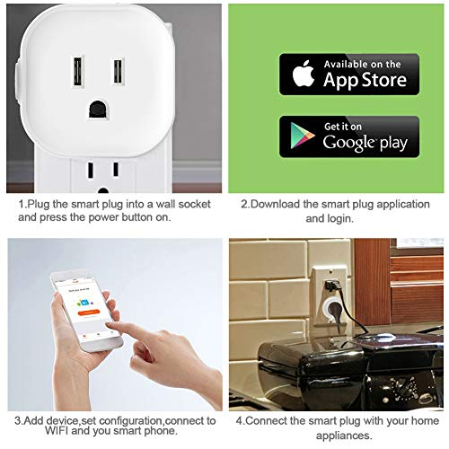 Igreli mini smart plug,Remote Control wifi Outlet with Timing Function and no hub required, Works with Alexa and Google Assistant,- 1 Pack by Igreli (Image #1)