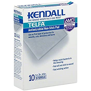 Amazon Com Kendall Telfa Antimicrobial Non Stick Pad 10