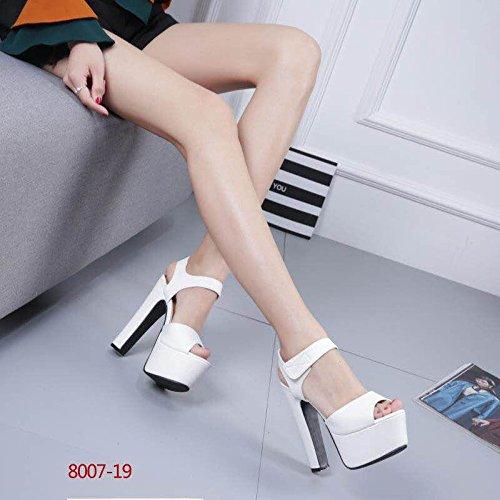 XiaoGao Nuevo estilo de sandalias de tacon 15 cm de alto,8007-19 blanco