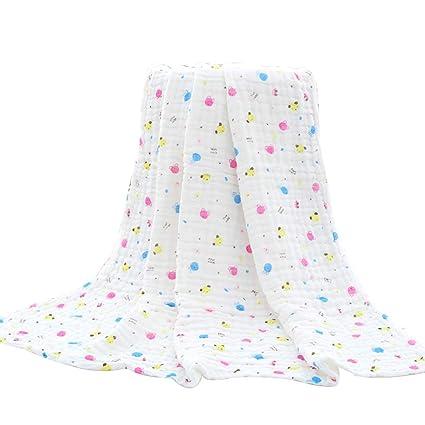 BESTOMEZ Suave bebé recién Nacido Mantas de Gasa niño pequeñas Toallas de baño Impresión de algodón