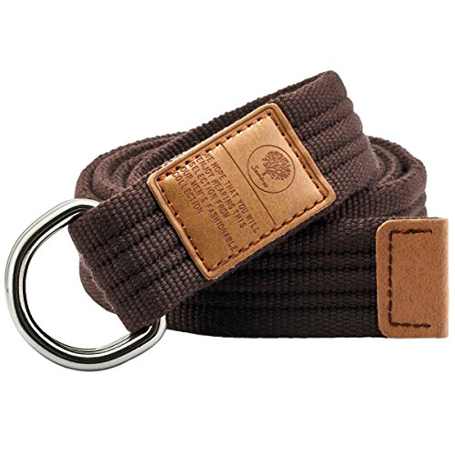 Short Belt - Samtree Canvas D Ring Belt,Adjustable Solid Color Military Style Web Belt Buckle(46