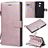 Sony Xperia L2 Wallet Case, CUSKING Premium Leather Cover with Silicone Inner Case for Sony Xperia L2 [Card Holder] [Magnetic Closure] [Hand Strap] - Rose Gold