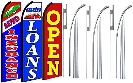 Auto Insurance Pack of 3 auto Loans Open King Swooper Feather Flag Sign Kit with Pole and Ground Spike