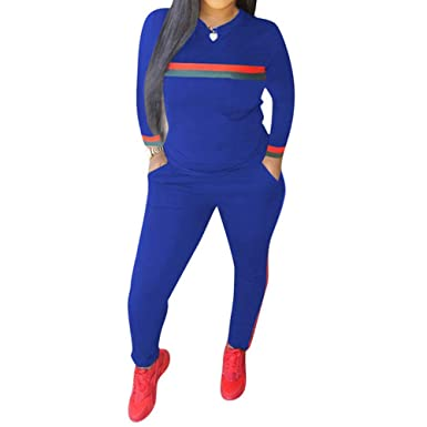 59071327c21 Top-Vigor Women 2 Pieces Sports Tracksuits Outfits Long Sleeve Top and Long  Bodycon Pants