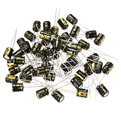 uxcell Aluminum Radial Electrolytic Capacitor with 470uF 10V 105 Celsius Life 2000H 6.3 x 7 mm Black 50pcs ()