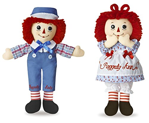 Bundle of 2 Aurora Dolls - 12'' Raggedy Ann and Raggedy Andy Antique Collectible Dolls