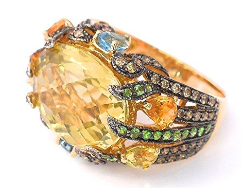 LeVian Ring Lemon Quartz Chocolate Diamonds, Citrine, Tsavorite Garnet, Blue Topaz 14.14 cttw Cocktail Ring 14k Yellow Gold (Gold Tsavorite Ring)