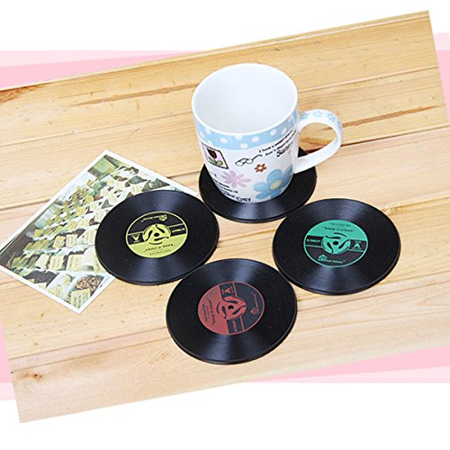 2 Pcs/ set New Fashion Home Table Cup Mat Creative Decor Coffee Drink Placemat Spinning Retro Vinyl CD Record Drinks Coasters