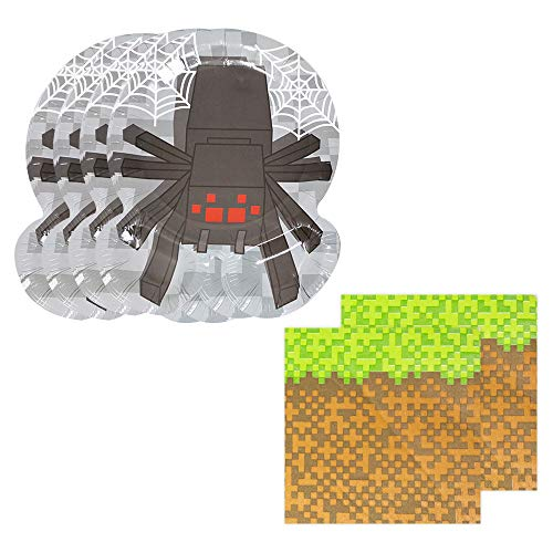 Pixel Spider Shaped Plate & Napkin Sets (70+ Pieces for 32 Guests!), Minecraft-Inspired Plate and Napkin Sets, Pixel Party Supplies, Video Game -