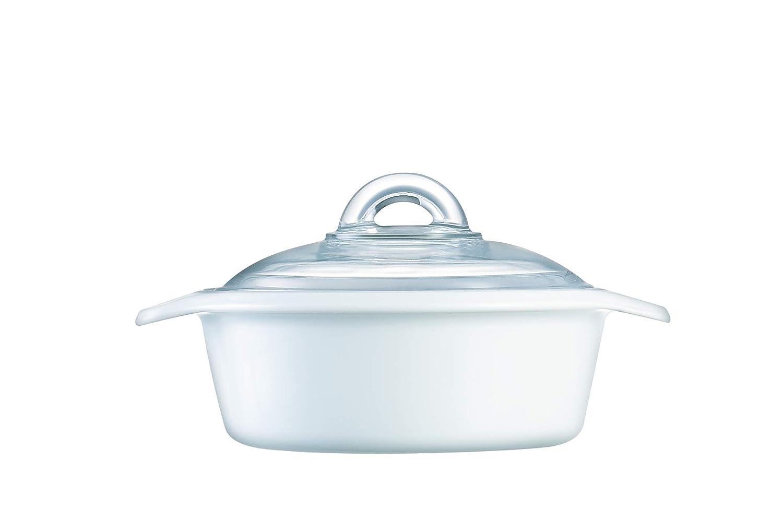 Luminarc N1611 Vitro Blooming Round Ceramic Casserole Dish With Lid, 1 Quart, White