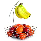 TableCraft Products 12SR Meranda Fruit/Banana Combo Basket, Chrome Plated Metal, Square, 12'' x 12'' x 18''