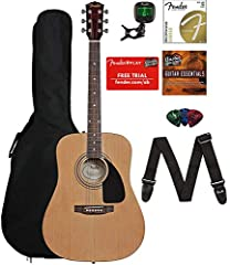 Everything you need to start playing straight out of the box. Bundle includes Fender acoustic guitar, gig bag, tuner, strings, strap, picks, Austin Bazaar instructional DVD, and polishing cloth. The guitar offers warm, vibrant, acoustic Fende...