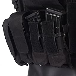 Yakeda Molle Combat Tactical Vest Arms Gear Tactical Stealth Black Carrier Military Hunting Vest With MOLLE Web Modular System With Included 7 Modular Pouches-VT-1026