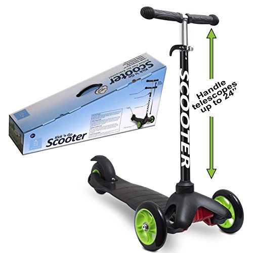 Scooters for Kids Toddler Scooter - Deluxe Aluminum 3 Wheel Glider w/ Kick n Go, Lean 2 Turn Wheels, Step 4 Brake, Toddlers Training Three Wheeled Kid Ride on Toys Best for Little Boys & Girls - Black by Den Haven (Image #3)