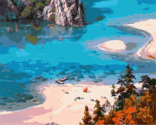 16x20'' Shallow Sea Bay Beach Scenery DIY Paint by Numbers Kits On Canvas Drawing Art Acrylic Oil Painting for Adult & Children (Without Frame)