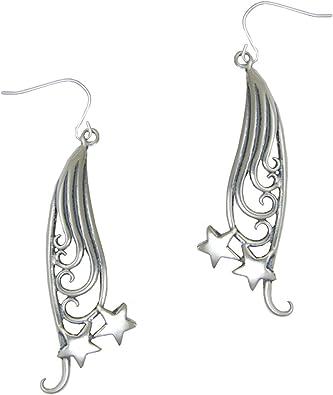 Sterling Silver Stars Long Drop Dangly Earrings