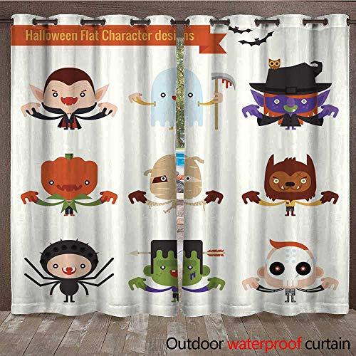 RenteriaDecor 0utdoor Curtains for Patio Waterproof Halloween Costume W72 x -