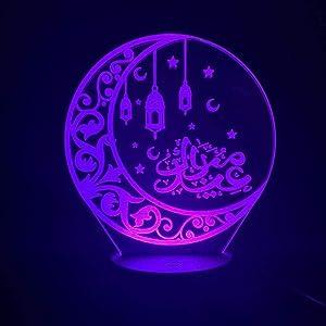3D Lamp 3D Led Night Light Lamp Islam Allah Arabic Kids Bedroom Decor Muslim Gift Nightlight Moon Lamp Allah Definition Home Decoration -Touch QLWLKJ HOICHAN