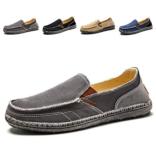 Men's Casual Canvas Shoes Slip-on Vintage Cloth Sneakers Wide Width Penny Loafers Outdoor Flat Deck Boat Walking Shoes ()