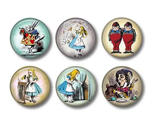 Alice in Wonderland - Fridge Magnets - Fairy Tale Magnets - 6 Magnets - 1.5 Inch Magnets - Kitchen Magnets
