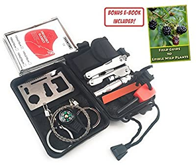 Hero LLC Survival Kit by 8-in-1 Portable EDC Emergency Survival Tools Set with Gift Box for Hunting Hiking Camping Climbing Traveling Wilderness Adventures or Car. Flint/Pliers/Compass/Wire Saw from Hero LLC