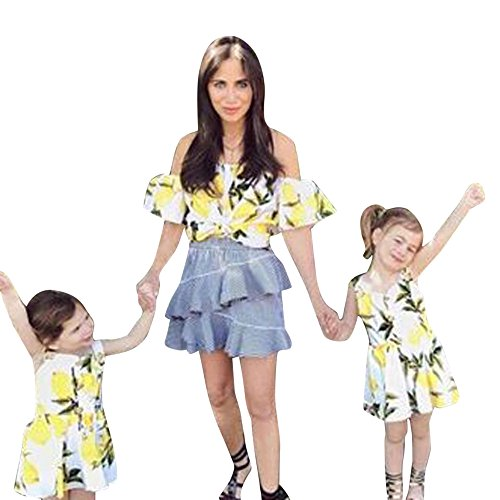 Anboo Mom And Me Matching Off Shoulder T-shirt Fruit Print Strapless Sexy Tops Family Clothes (7T, Girl, White)