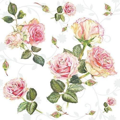 5 SERVIETTEN NAPKINS EVERLAST FLOWERS 33X33 STROHBLUMEN AUF HOLZ VINTAGE HERBST