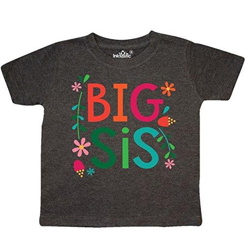 inktastic - Big Sis Girls Sister Toddler T-Shirt 2T Retro Heather Smoke