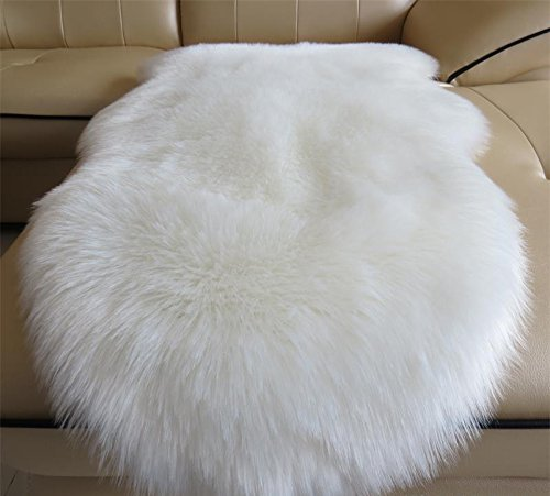 HUAHOO Faux Fur Sheepskin Rug Ivory White Kids Carpet Soft Faux Sheepskin Chair Cover Home Décor Accent for a Kid's Room,Childrens Bedroom, Nursery, Living Room or Bath. 6' x 8' Rectangle