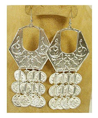 (Belly Dance Egyptian Metal Coin Earring Dangle Dancing Jewelry Gypsy 110 (Silver Tone))