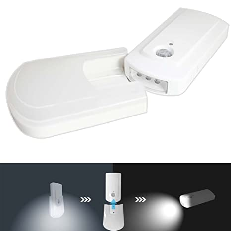 Luz noche Movimiento Sensor Antorcha - VICTORSTAR 2 en 1 De Pilas Automático LED Lámpara de