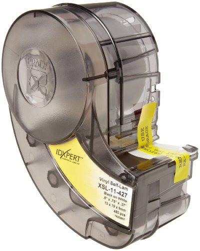 Brady Self-Laminating Vinyl Label Tape (XSL-11-427) - Black on White, Translucent Tape - Compatible with IDXPERT Label Makers - .75